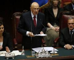 Italy's newly re-elected president Napolitano speaks at the lower house of the parliament in Rome