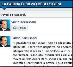 La pagina Facebook di Berlusconi
