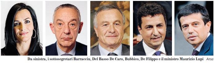 INDAGATI: SONO BARRACCIU, DEL BASSO DE CARO, DE FILIPPO E I RICONFERMATI BUBBICO E LUPI: 4 DEMOCRAT E IL MINISTRO DIVERSAMENTE BERLUSCONIANO.