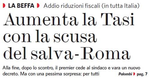 Con renzi il salva roma diventa un aumenta tasse marco for Aliquota tasi roma
