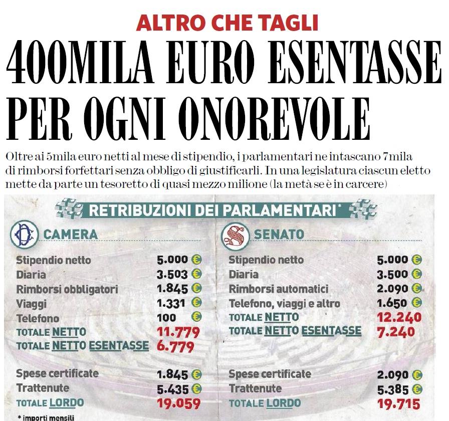 Ecco il tesoretto dell eletto 80 mila euro esentasse l for Quanti sono i parlamentari italiani