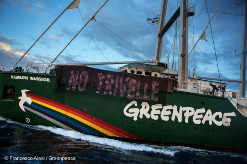 "Activists aboard the Greenpeace ship, Rainbow Warrior unfurl a banner reading: ""No Drilling"" as she sails past the Rospo B oil rig off the coast of Vasto.   The environmental organisation warns that increased oil drilling activities across the Mediterranean could result in an accident that would cause irreversible damage to environment and livelihoods in the region. The Rainbow Warrior is currently on a 'Mediterranean Energy Tour', to campaign for a shift in energy investments away from fossil fuels towards renewable energy to help avert the worst impacts of climate change."