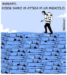 migranti camminare acque
